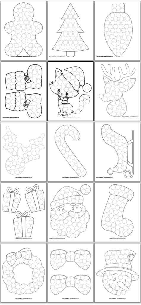 Christmas Dab A Dot Free Printables In 2020 Christmas Tree Coloring Page Free Christmas Printables Dot Marker Printables