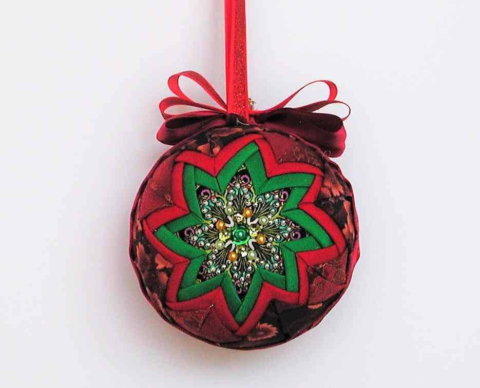 Quilted Beaded Christmas Tree Ornament Green And Red Unique Hostess Gift By Naomisquiltery On Etsy Folded Fabric Ornaments Fabric Ornaments Quilted Ornaments