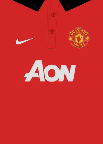 Manchester United 13 14 Home Kit Vector Art Print Manchester United Wallpaper Classic Football Shirts Manchester United