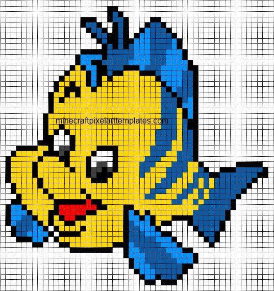 Captivating Minecraft Pixel Art Templates: Flounder (The Little Mermaid)