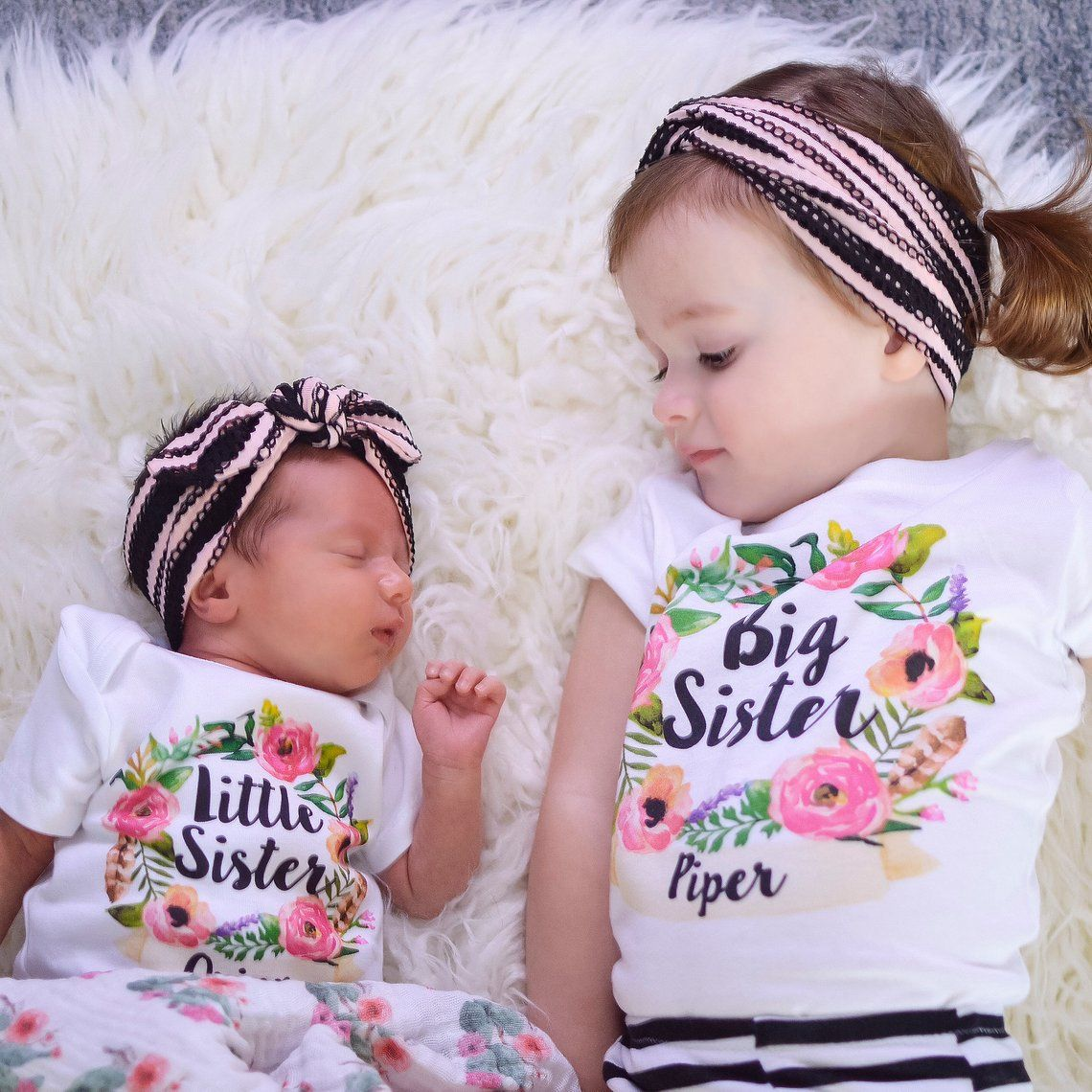 Big Sister Little Sister Matching Sister Outfits Personalized Sibling Set Big Sister Shirt Little Sister Sister Outfits Baby Girl Floral Big Sister Outfits