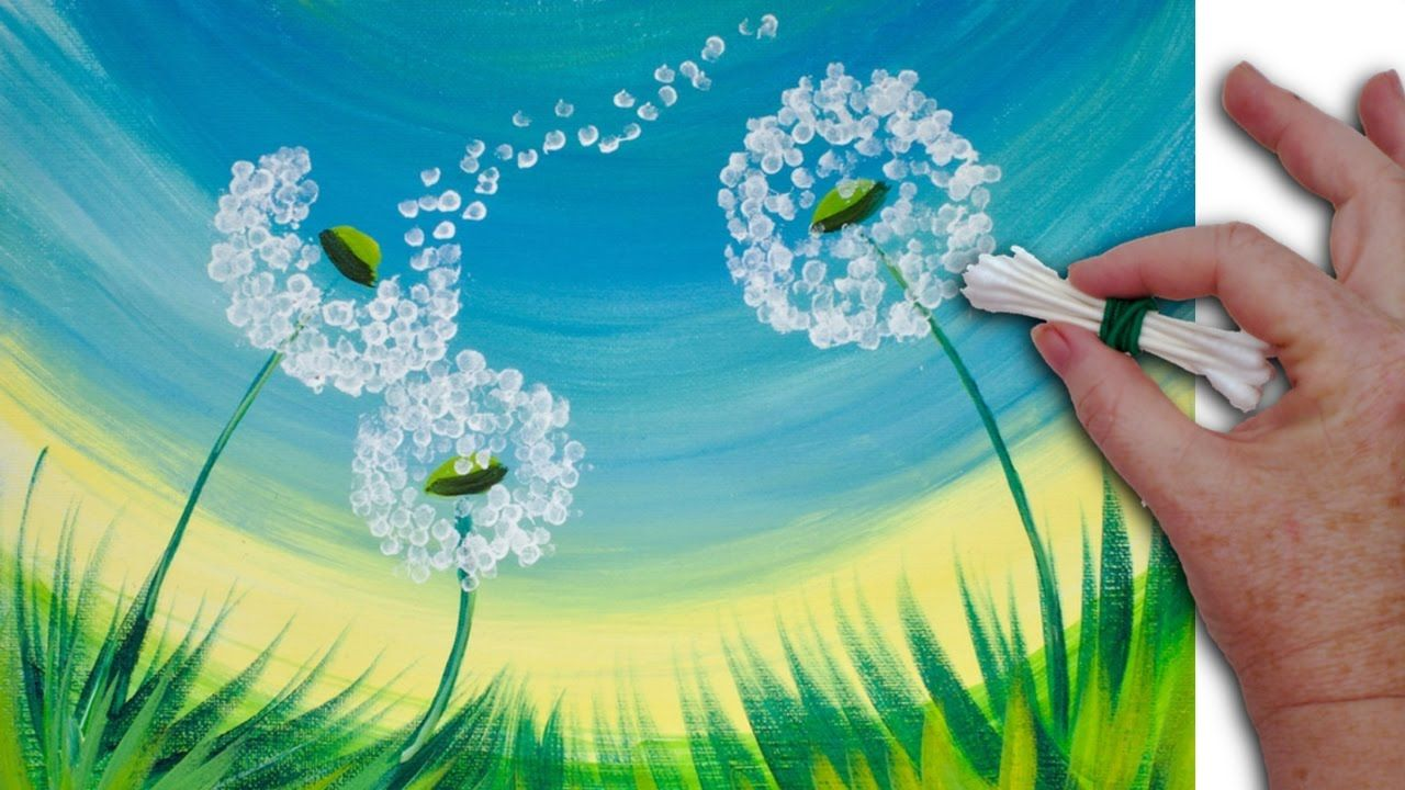 Dandelion cotton swabs painting technique for beginners for Canvas painting tutorial for beginners