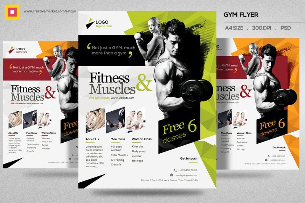 Fitness Flyer \/ Gym Flyer V12 by Satgur Design Studio on - fitness flyer template