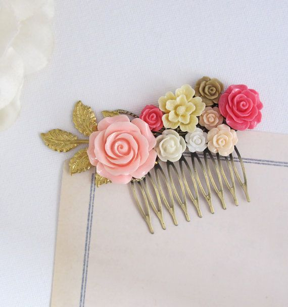 romantic pink rose hair comb accessory pink white by annmichy 3400