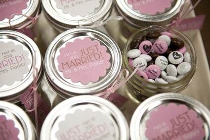 #ad send off guests in style with take-home jars of personalized MY M & M'S®