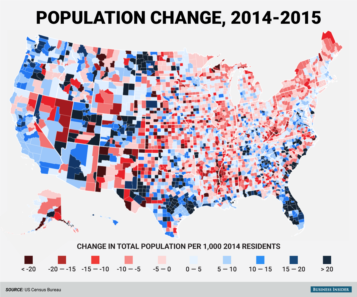 These Are The Fastest Growing And Shrinking Counties In America - Us political map adjusted for population 2016