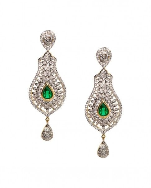 Golden Dangling Earrings with Green Stone