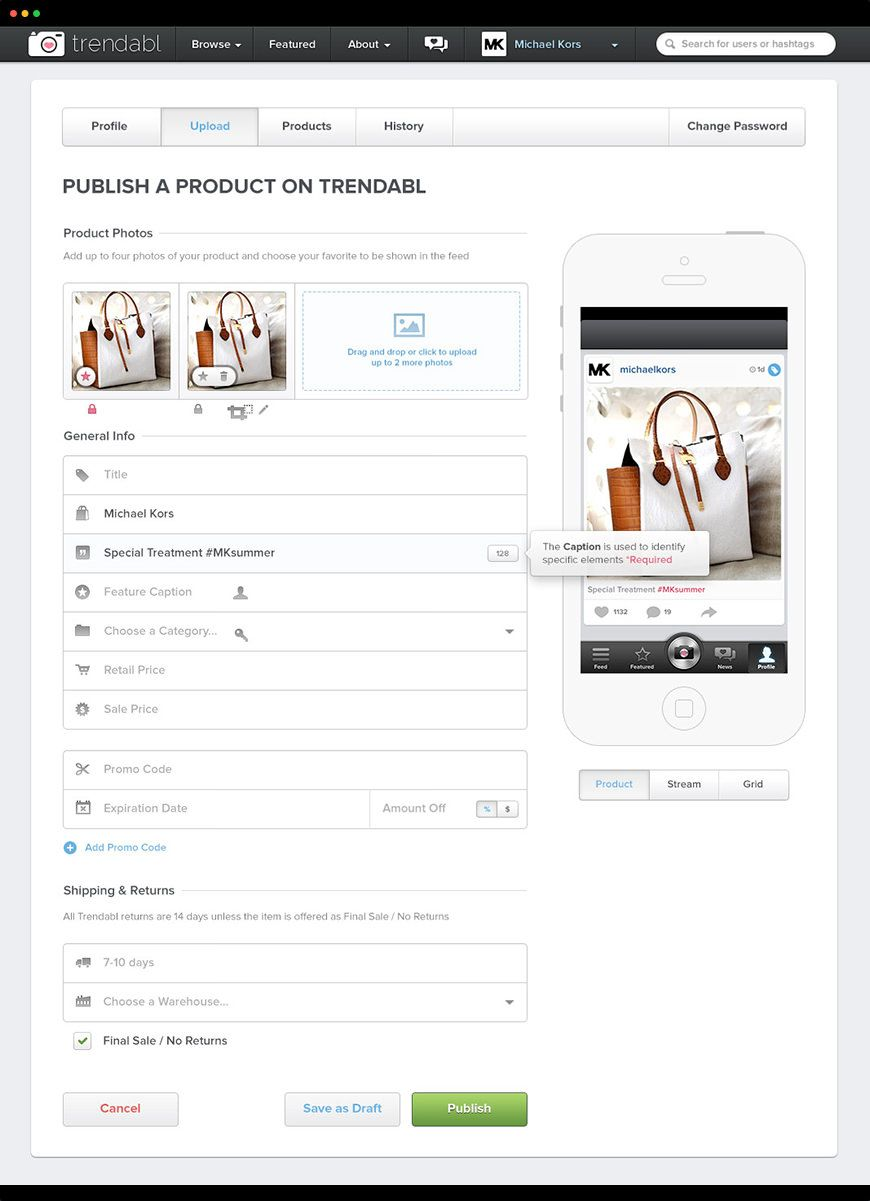 We helped Trendabl build out their marketing and mobile