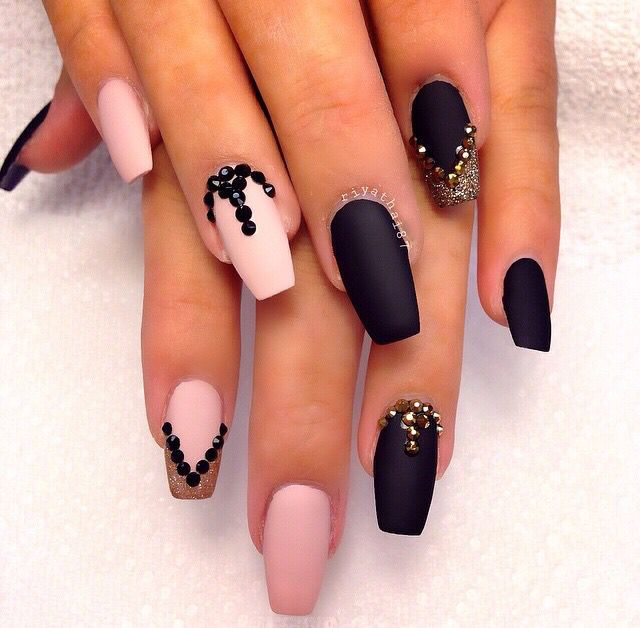 Black and pink | Nails✨ | Pinterest | Diseños de uñas, Frases para ...