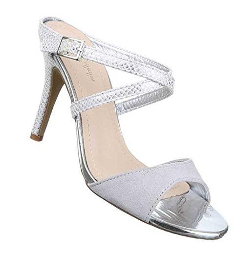 Elegante High-Heel mit Stiletto Absatz in Hellgrau und Größe 36 Pumps in Schlangenlederoptik oBKn2pIyl