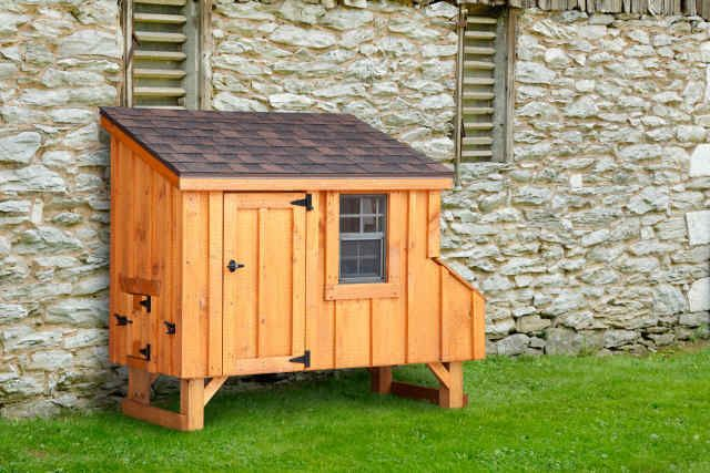 "Nice ""lean to"" design for a smaller coop."