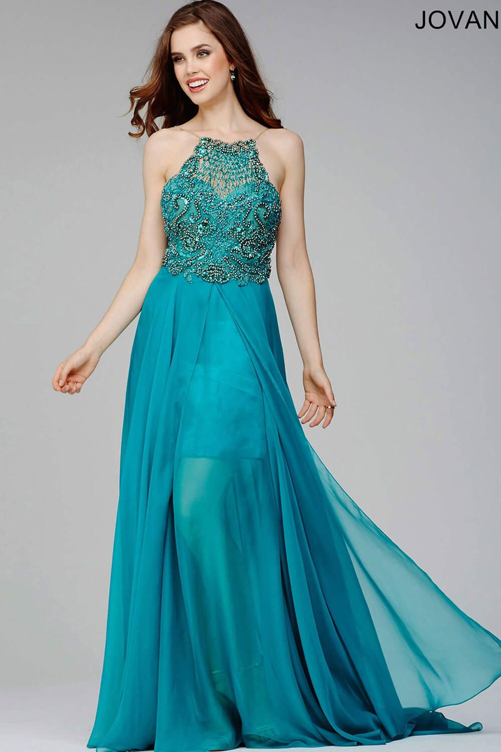 Chiffon beaded top with open low back halter dress | Prom ...