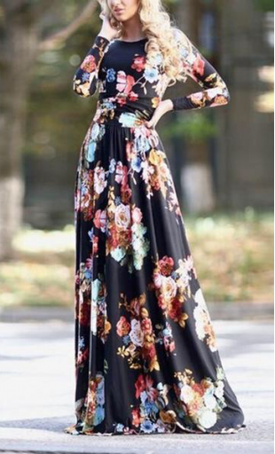 df3d83615a07e really loving this long sleeve maxi dress with modest neckline and bold  floral print
