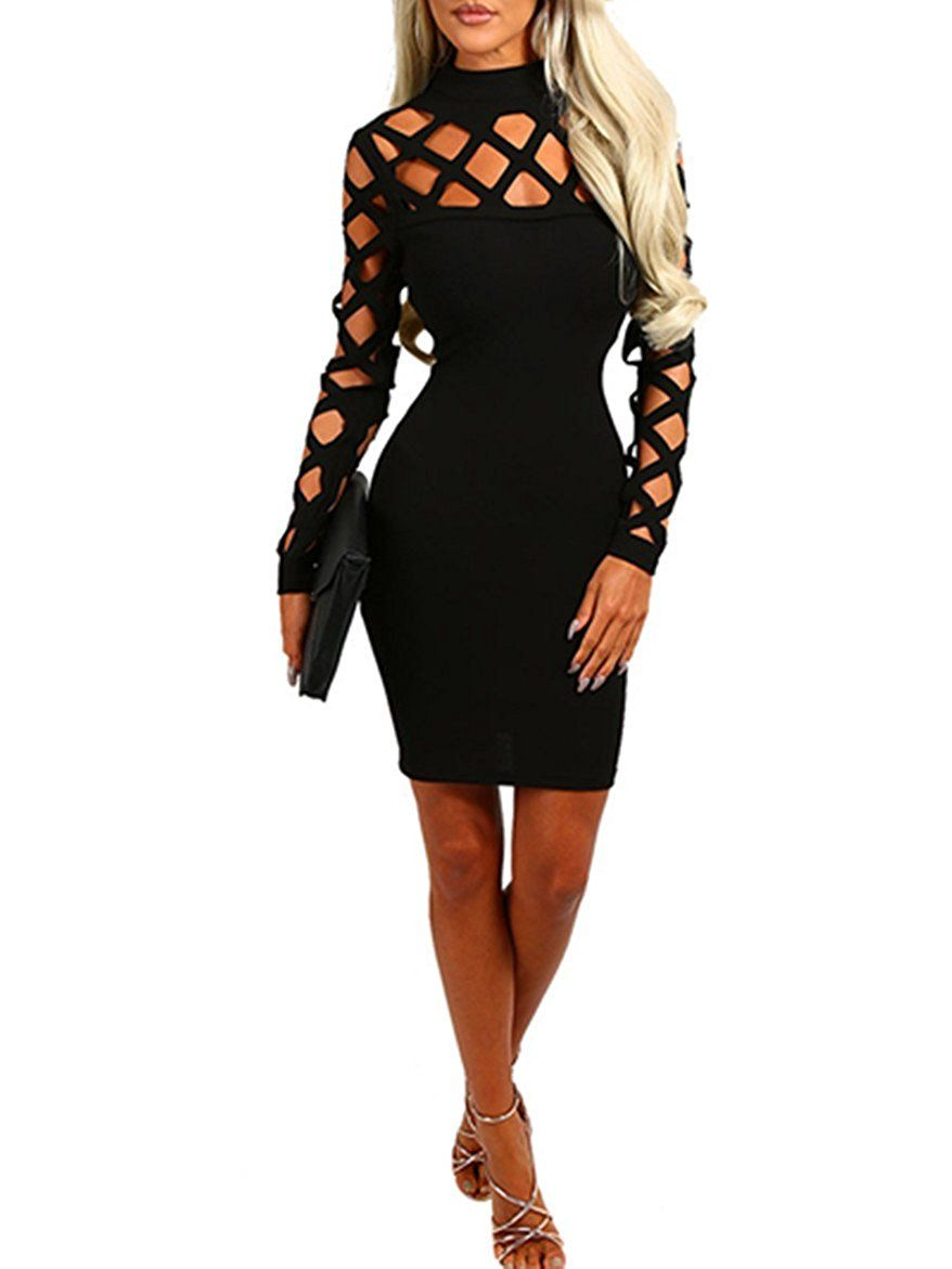 Amazon wuxh womenus sexy long sleeve hollow out cocktail