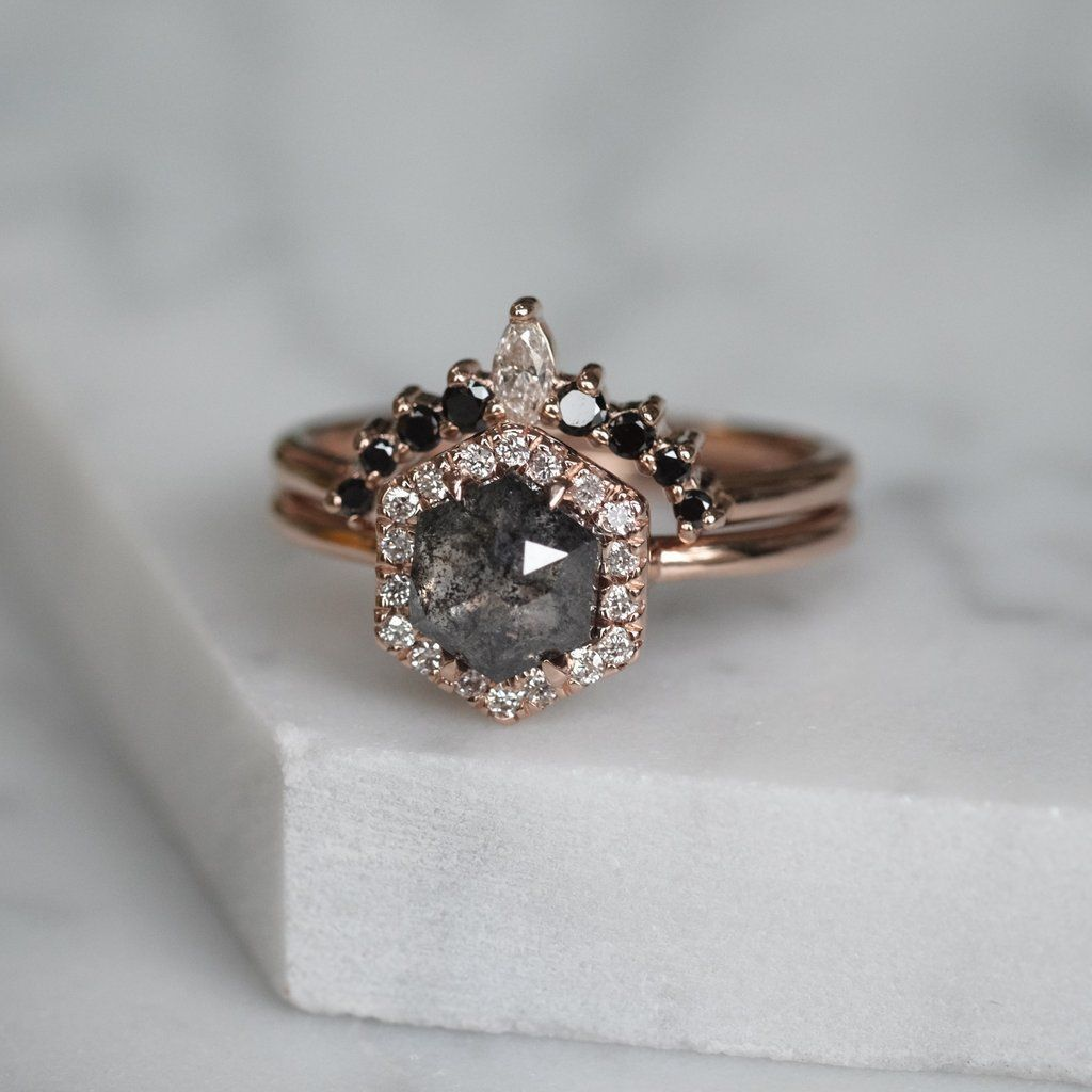 1.33 ct Speckled Hexagon Diamond Halo Engagement Ring, 14k