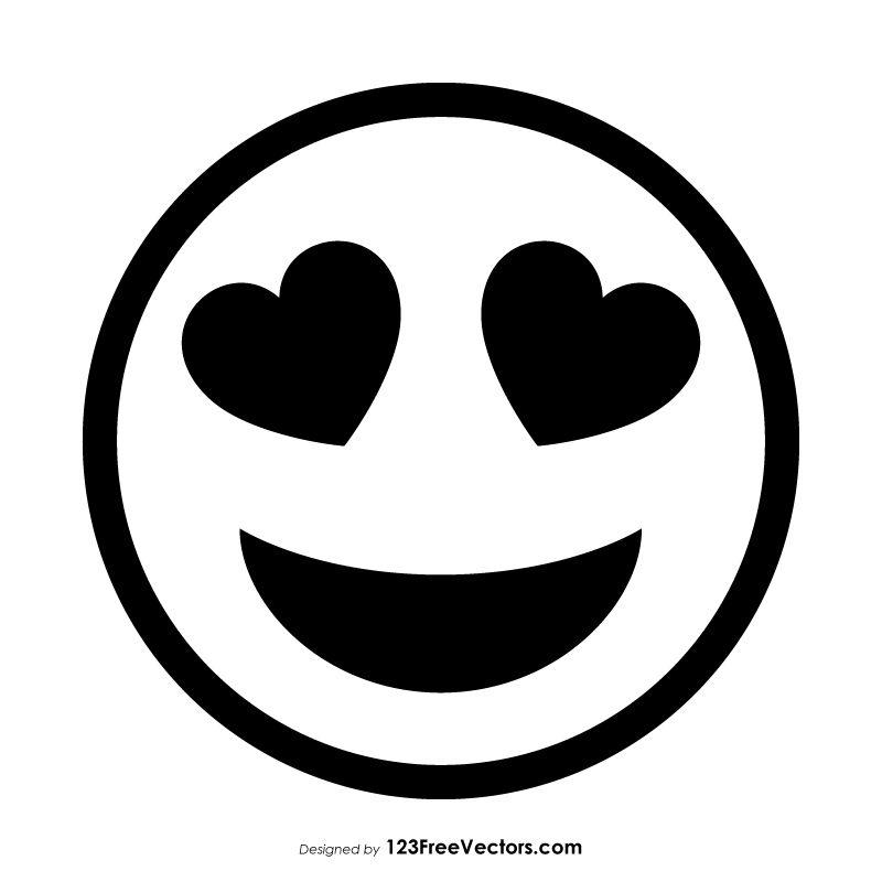 Smiling Face With Heart Eyes Emoji Outline Emoji Drawings Mini Drawings Easy Love Drawings