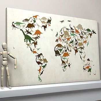 Dinosaur world map art print print poster shared bedrooms and dinosaur world map gumiabroncs Images