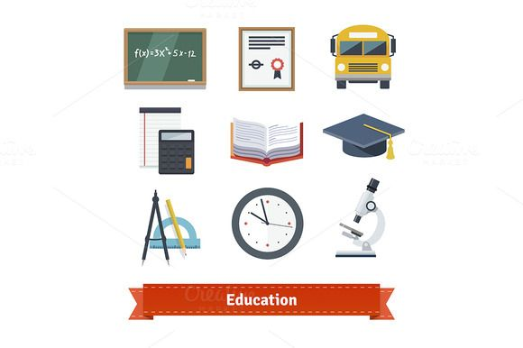 Education flat icon set. by @Graphicsauthor