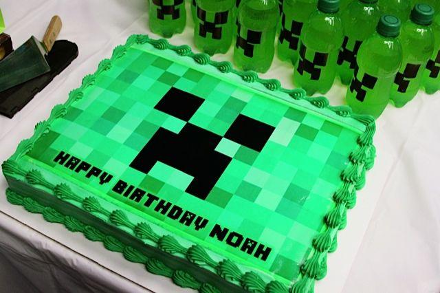 Tremendous Minecraft Creeper Birthday Cake Minecraft Party Minecraft Funny Birthday Cards Online Inifofree Goldxyz