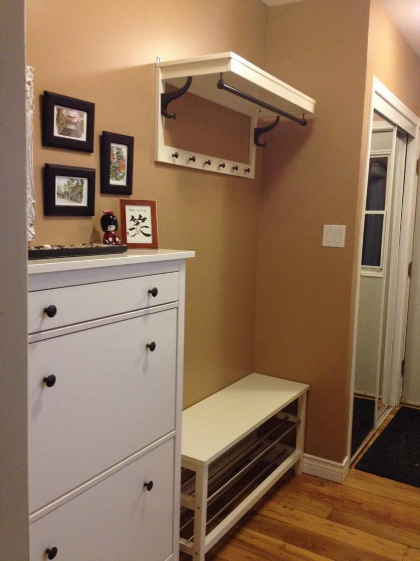 Storage for hallway  Back Entrance in narrow hallway  IKEA bench coat rack and shoe