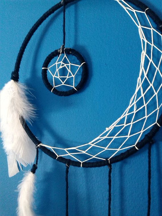 crescent moon dream catcher made to order you pick the color dream catchers pinterest. Black Bedroom Furniture Sets. Home Design Ideas