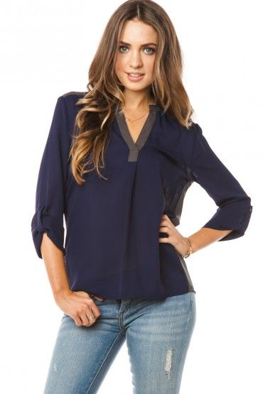 Paxton Blouse in navy. Cute shirt, named after my son. Better get it!
