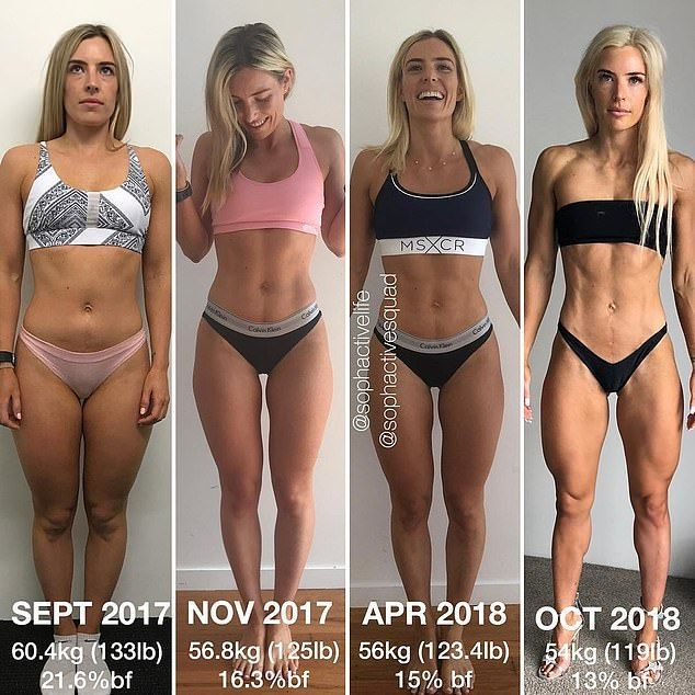 Fitness star Sophie Allen (pictured from left to right) has revealed what a difference a year can ma...
