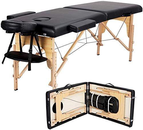 Best Seller Yaheetech Massage Table Portable Massage Bed Spa Bed 84 Inch Adjustable 2 Fold Salon Bed Face Cradle Bed Carrying caseHeadrestArmrestHand Pallet Black online...