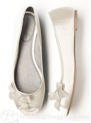 Shoes Dessy Peep Toe Satin Ballet Flats Wedding