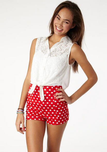Red and white polka dots high waist shorts from forever 21