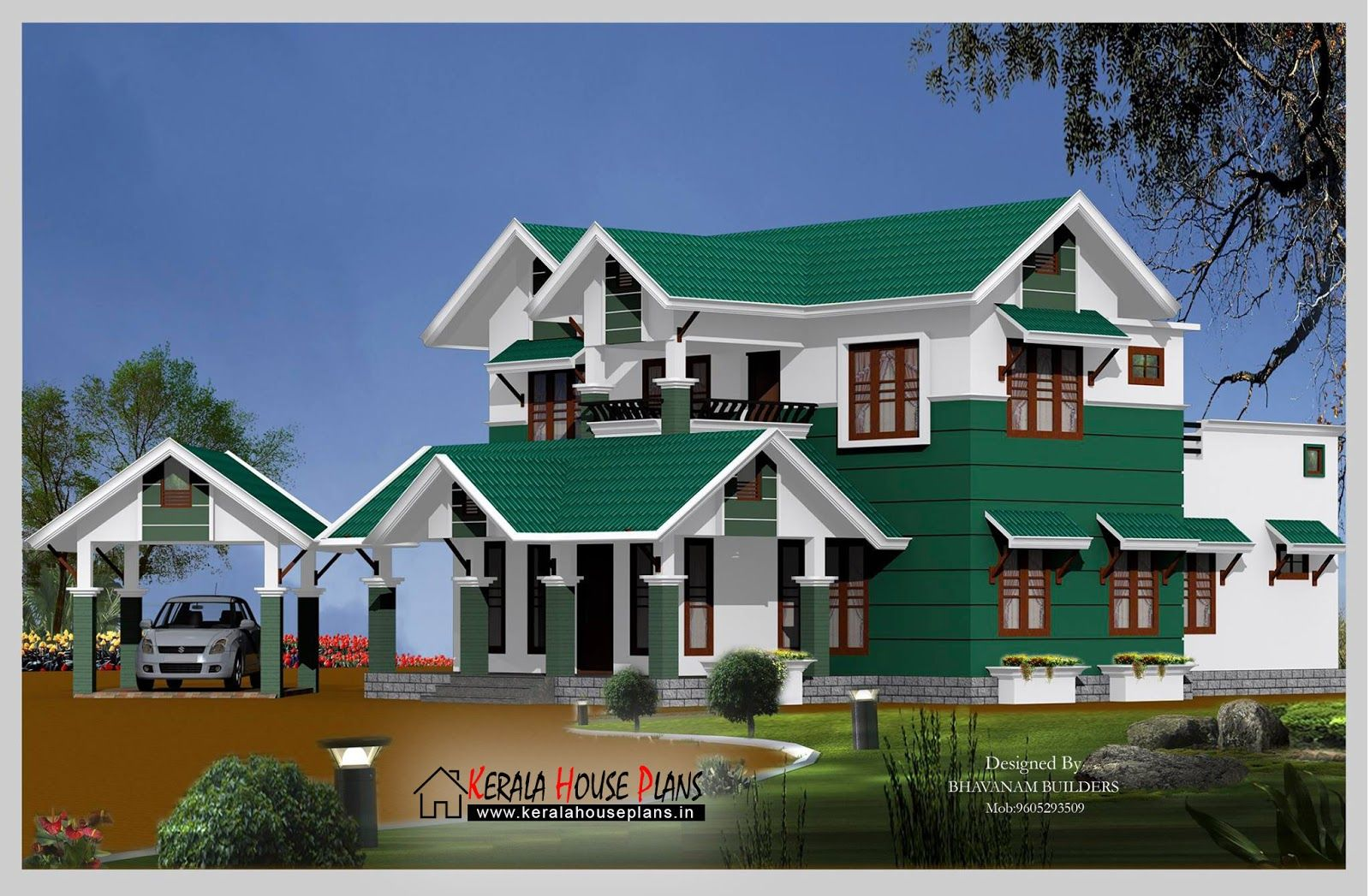 Modern 2600 sqft slop roof house design