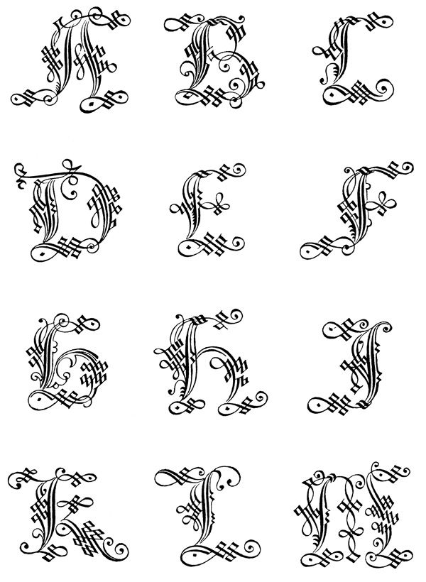 Gothic letters a z th century and calligraphy