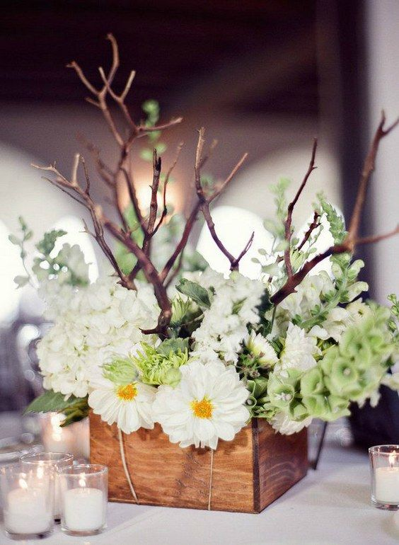 100 wooden box wedding dcor centerpieces rustic white wedding rustic white flowers in wood box wedding centerpiece junglespirit Image collections