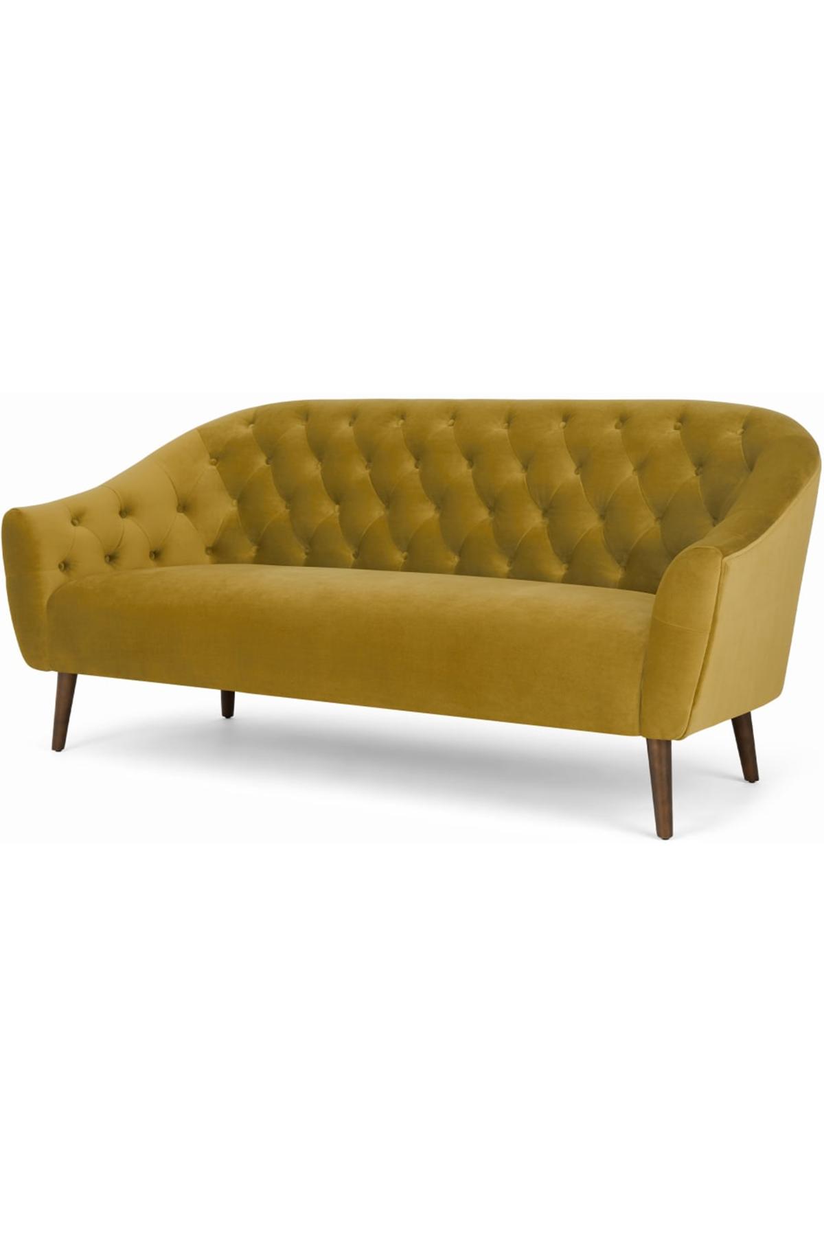 Tallulah 3 Seater Sofa Vintage Gold Velvet Gold Sofa 3 Seater