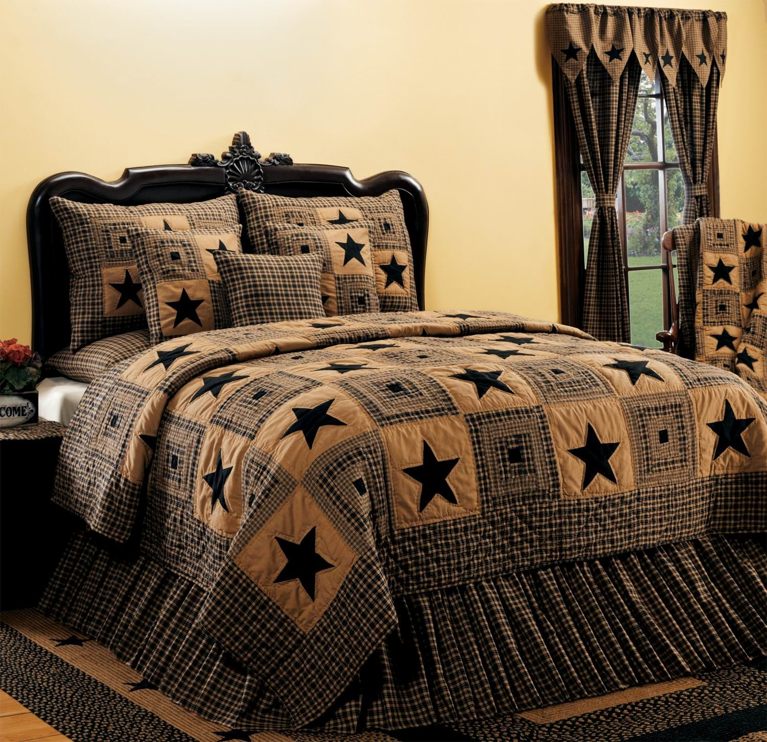 Vintage star black quilted bedding set by india home for Decorative bed quilts