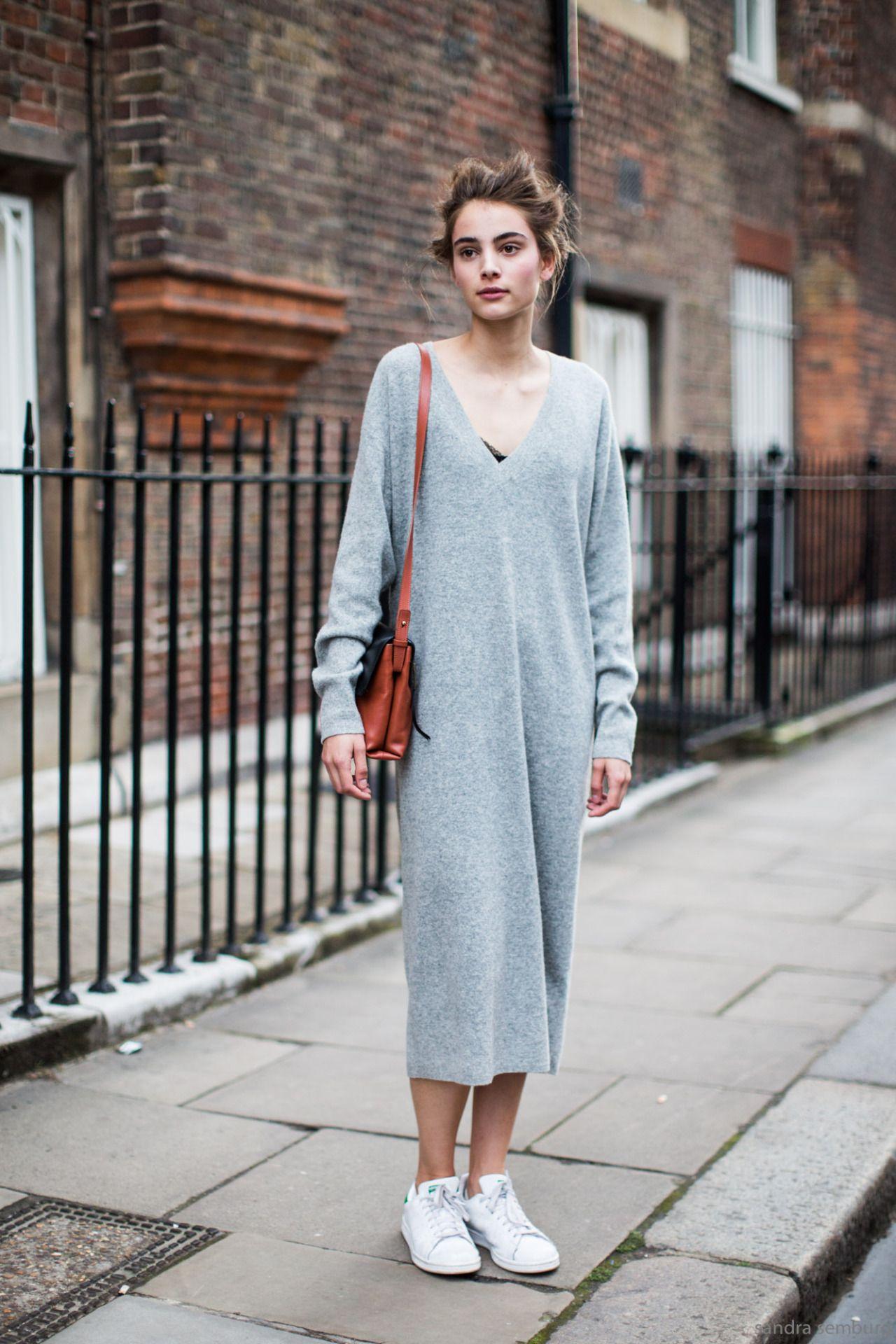 Grey v-neck midi dress with Stan Smiths.