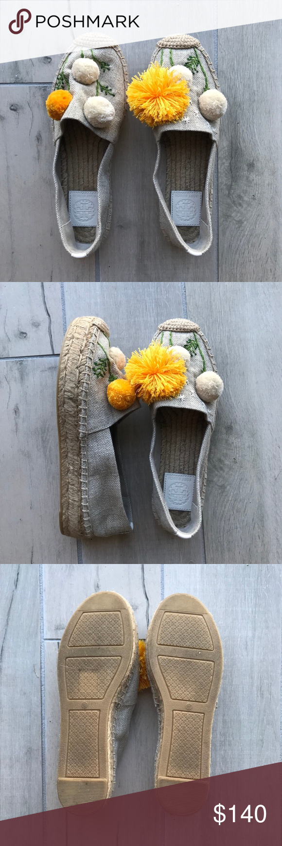 1431dc024 Tory Burch Lily Pompom Platform Espadrille Fluffy pompoms give  three-dimensional life to the whimsically