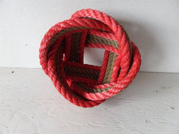 Rope Basket Knotted Nautical Red and Natural 4 by AlaskaRugCompany, $35.00