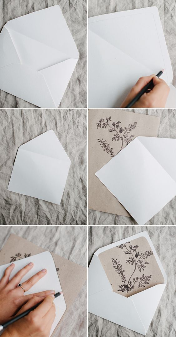 Simple DIY rustic wedding invitation and envelope liners / http ...