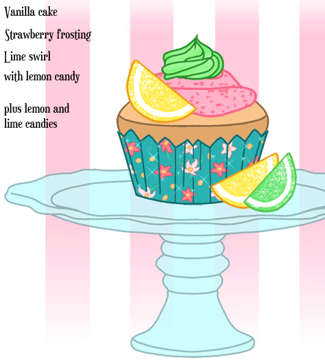 Aramina's Vanilla Musketeer Cupcake with strawberry frosting and lime swirl with lemon and lime candy