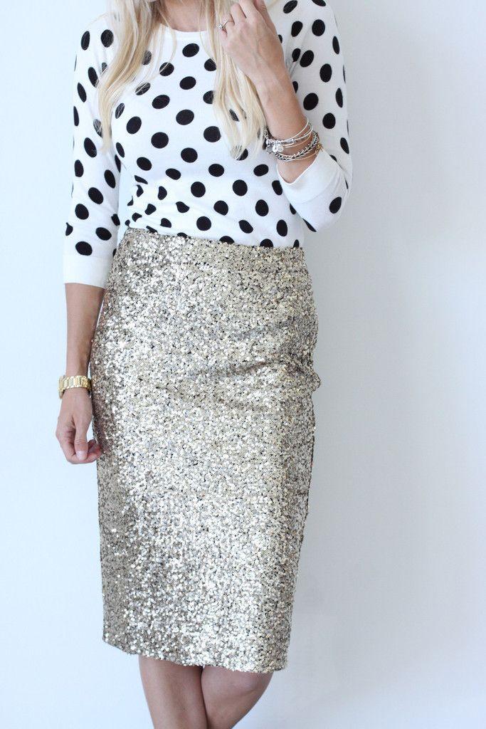 Sequin High Waist Flared Fashion Middle Skirt | High waist ...