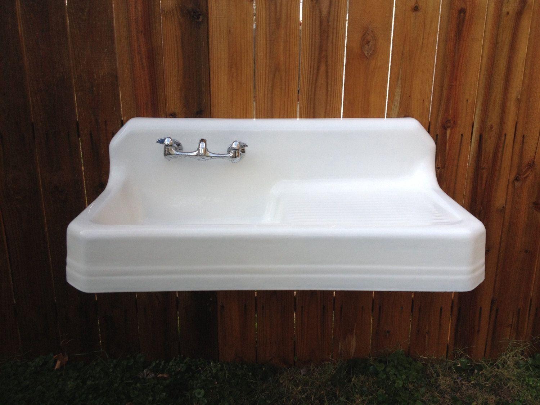 Antique Richmond Farm Sink Drainboard Highback Apron with
