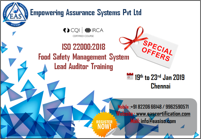 ISO 220002018 Lead Auditor Training Auditor, Safety