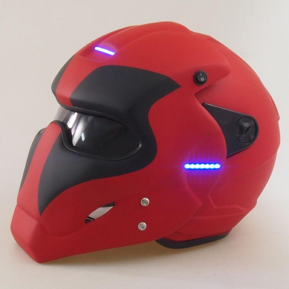 Dot Amp Ece Certified With Led Light Amp Switch Deadpool Motorcycle Custom Helmet Ebay Motors