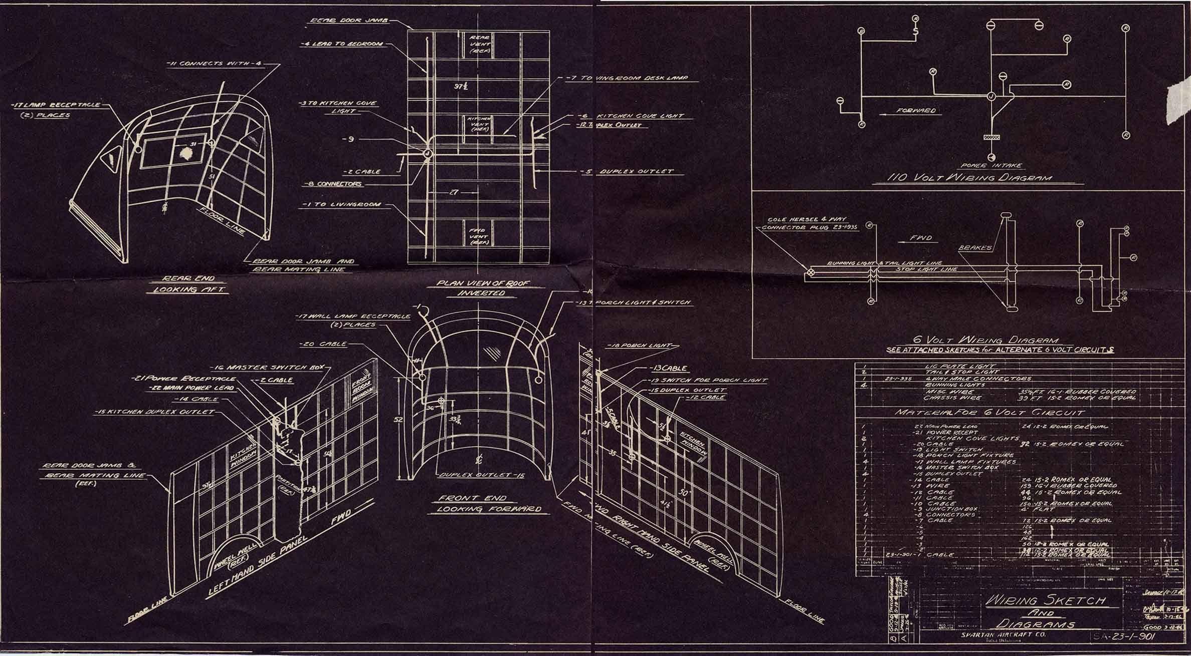 1946 Spartan Manor Blueprints Vintage Camper Spartan Trailer Vintage Campers Trailers