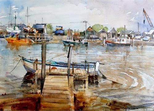 """Daily Paintworks - """"Quayside at Southwold"""" by Nigel Fletcher"""