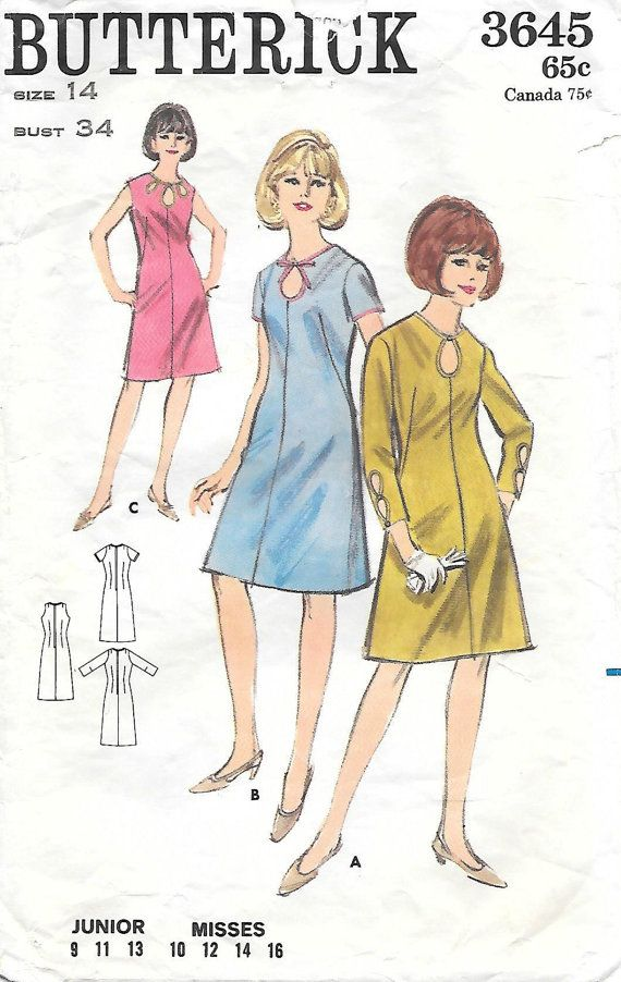 Butterick 3645 1960s Sheath Dress with Neck Cut-Outs Vintage Sewing Pattern, by GrandmaMadeWithLove