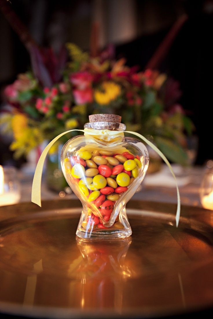 Heart Shaped Jar Filled With M Ms Are A Lovely Idea See More Mandms Wedding Favors