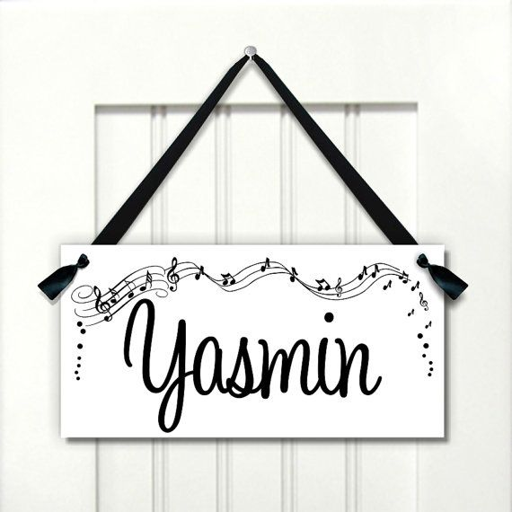 blue and pink music notes kids bedroom door sign - nursery ...