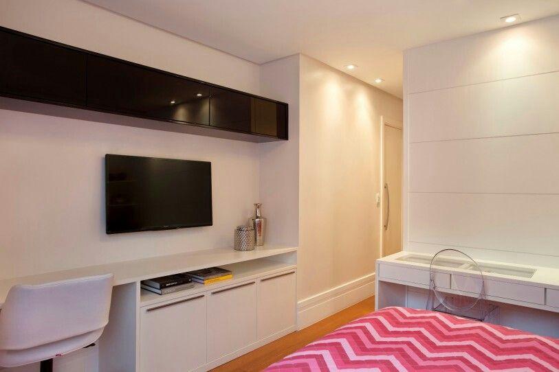 Quarto tv aparador penteadeira quarto de casal Pinterest Penteadeira, Aparador e Televis u00e3o